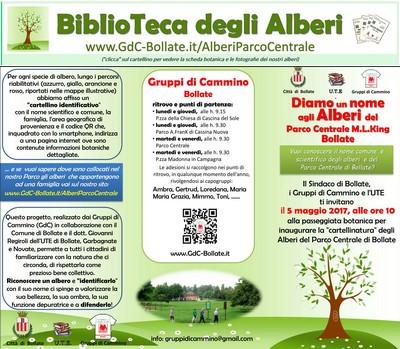 """● 5/05/17 – Cartellinatura e inaugurazione della """"BiblioTeca degli Alberi a cielo aperto"""" nel nostro Parco Centrale"""